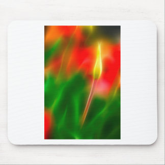 Green, Red and Yellow Tulip Glow Mouse Pad