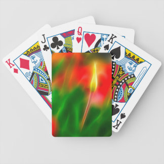 Green, Red and Yellow Tulip Glow Poker Deck