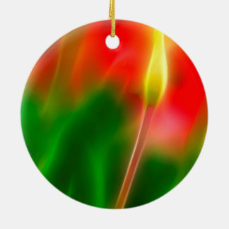 Green, Red and Yellow Tulip Glow Round Ceramic Ornament