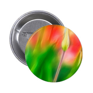 Green Red and Yellow Tulip Sketch 2 Inch Round Button