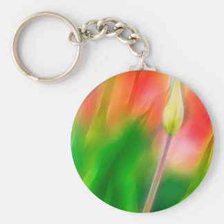 Green Red and Yellow Tulip Sketch Basic Round Button Keychain