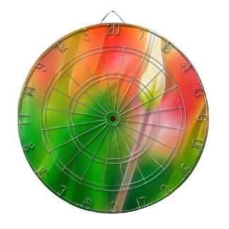 Green Red and Yellow Tulip Sketch Dartboard