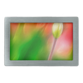 Green Red and Yellow Tulip Sketch Rectangular Belt Buckle