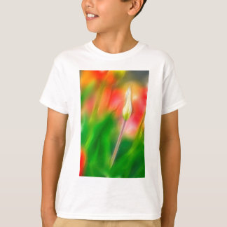 Green Red and Yellow Tulip Sketch T-Shirt