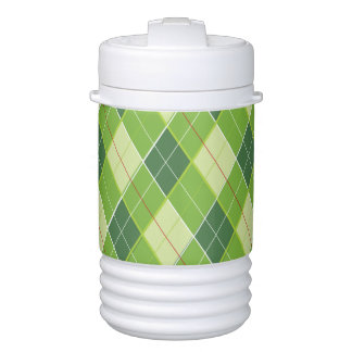 Green red argyle pattern golf cold container drinks cooler