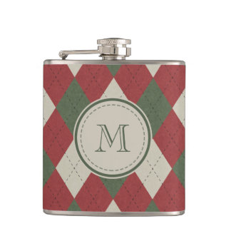 Green & Red Argyle Plaid Pattern with Monogram Hip Flask