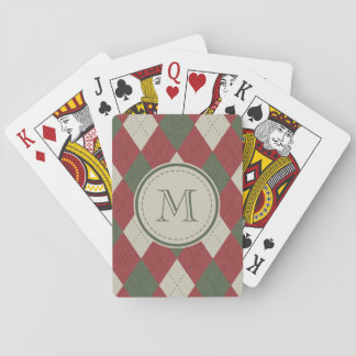 Green & Red Argyle Plaid Pattern with Monogram Playing Cards