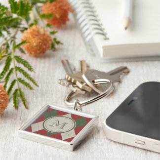 Green & Red Argyle Plaid Pattern with Monogram Silver-Colored Square Keychain