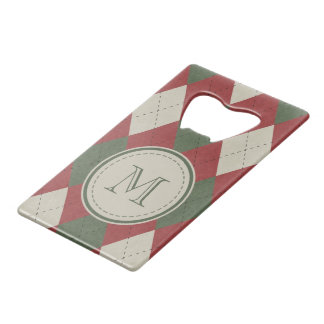 Green & Red Argyle Plaid Pattern with Monogram Wallet Bottle Opener