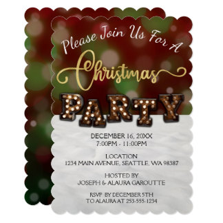 Green & Red Bokeh Snow Christmas Party invitation