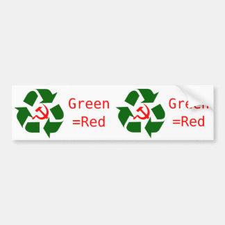 Green=Red Bumper Sticker