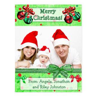 Green &  Red Christmas Family Photo Postcard