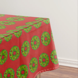 Green Red Christmas Holly Wreath Cookie Holiday Tablecloth