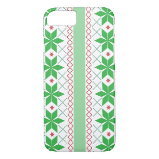 Green & Red Christmas sweater pattern iPhone 7 Case
