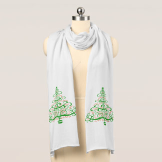 Green Red Christmas Tree Holiday Scarf