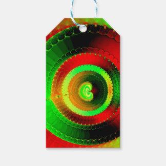 Green Red Circle Fractal Gift Tags