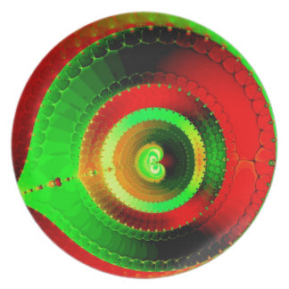 Green Red Circle Fractal Plate