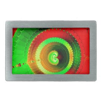 Green Red Circle Fractal Rectangular Belt Buckles