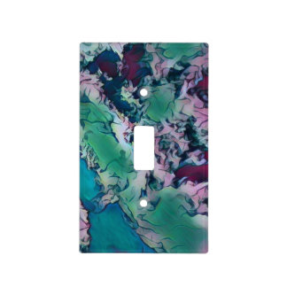 Green Red Colorful Abstract Marbling Pattern Light Switch Cover
