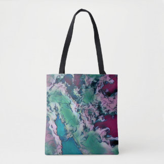 Green Red Colorful Abstract Marbling Pattern Tote Bag