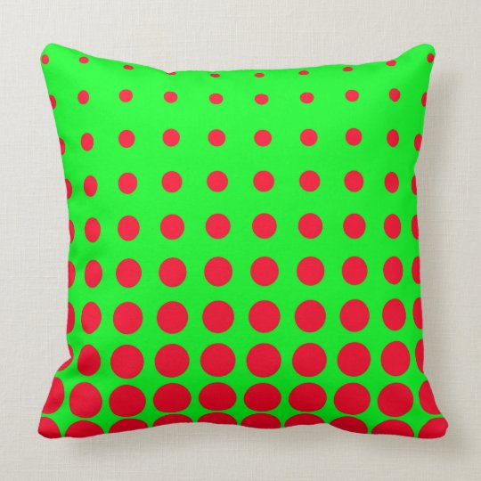 Green & Red Colourful Vector abstract dot Throw Pillow