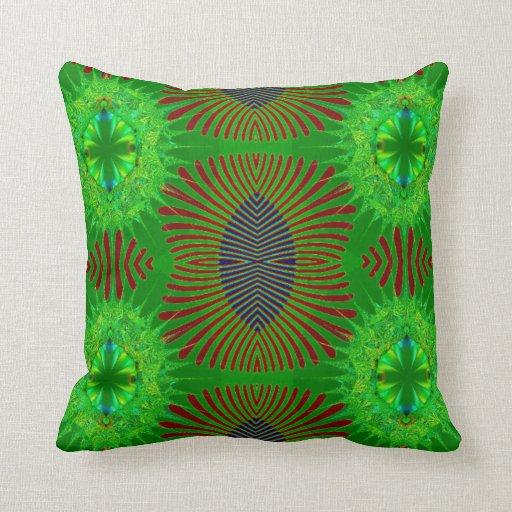 Green red fancy fractal throw pillows
