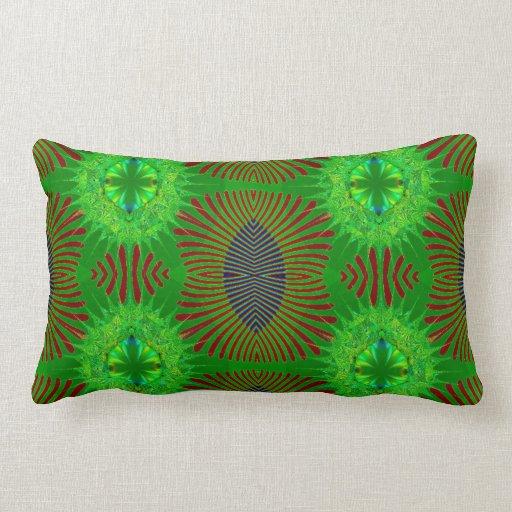 Green red fancy fractal throw pillow