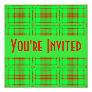"""green red fractal 5.25"""" square invitation card"""