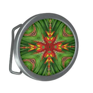Green red fractal Belt Buckle
