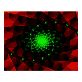 Green Red Fractal Poster