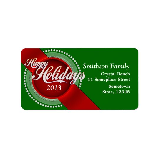 Green & Red Happy Holidays Christmas Gift Labels