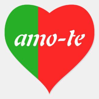 Green/Red Heart Amo-Te stickers
