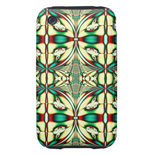 green red holiday fractal iPhone 3 tough cover