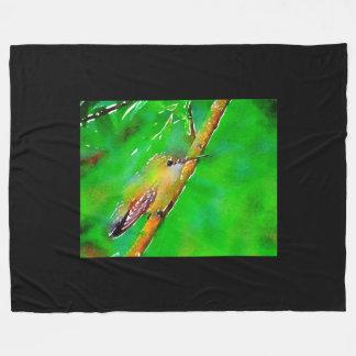 Green Red hummingbird Fleece Blanket