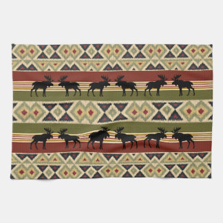 Green Red Ivory Ochre Ethnic Look Kitchen Towel