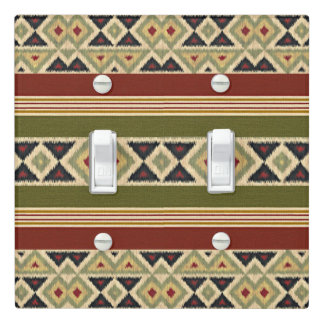 Green Red Ivory Ochre Ethnic Look Light Switch Cover
