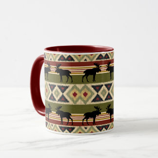 Green Red Ivory Ochre Ethnic Look Mug