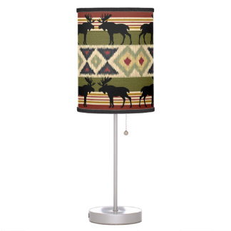 Green Red Ivory Ochre Ethnic Look Table Lamp