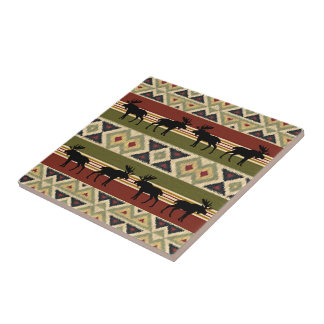 Green Red Ivory Ochre Ethnic Look Tile