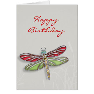 Green Red Jeweled Dragonfly Greeting Cards