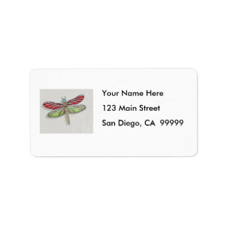 Green & Red Jeweled Dragonfly Label