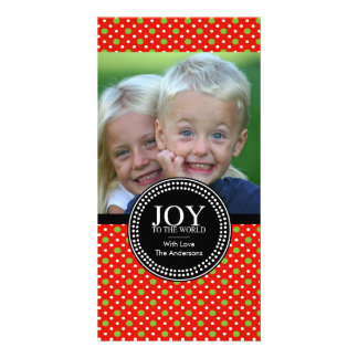 "Green Red ""JOY TO THE WORLD"" Holiday Photo Card"