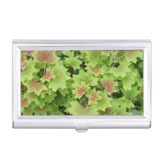 Green Red Leafs Business Card Holder