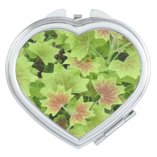 Green/Red Leafs  Heart Compact Mirror