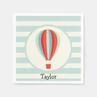 Green, Red, Orange Hot Air Balloon Paper Napkin
