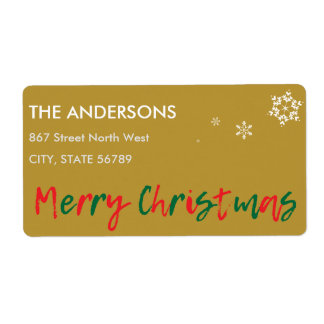 Green Red Overlay Merry Christmas Snowflakes Shipping Label