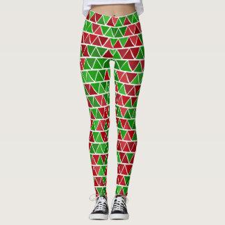 Green red pattern Leggings