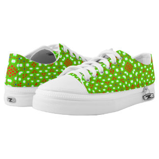 Green red pattern Low-Top sneakers