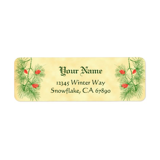 Green Red Pine Custom Holiday Address Labels