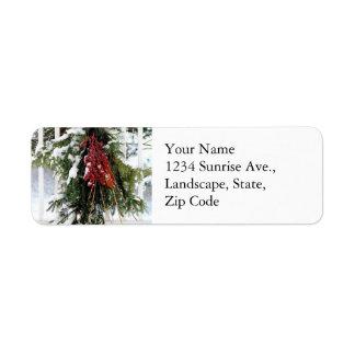 Green Red Pine Swag Winter Return Address Label